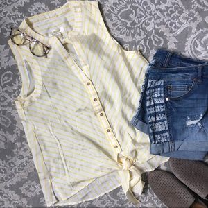 ANTHROPOLOGIE Maeve Yellow Striped Tie Top NWOT